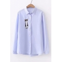 Simple Cartoon Cat Embroidered Lapel Collar Long Sleeve Button Up Shirt