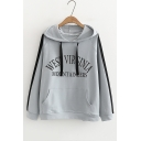 WEST Letter Contrast Striped Long Sleeve Leisure Hoodie