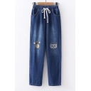 Drawstring Waist Cat Paw Embroidered Straight Jeans