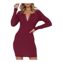 Button Front Long Sleeve V Neck Plain Slim Ribbed Mini Pencil Dress