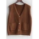 Button Up V Neck Sleeveless Plain Vest Sweater