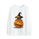 Cartoon Pumpkin Cat Printed Round Neck Long Sleeve Sweatshirt