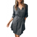 V Neck Long Sleeve Plain Tie Waist Midi A-Line Dress with Pockets