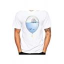 Balloon Sea Boat Printed Round Neck Short Sleeve T-Shirt