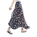Floral Printed Split Front Lined Maxi Wrap Skirt