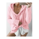 Chic Plain Long Sleeve Mohair Faux Fur Hoodie