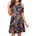 Floral Printed Cold Shoulder Round Neck Mini A-Line Dress