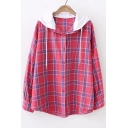 Contrast Hood Plaid Printed Long Sleeve Button Front Hooded Shirt
