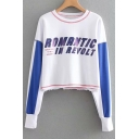 Color Block Letter Printed Round Neck Long Sleeve Crop Sweatshirt