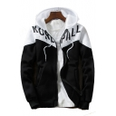 Letter Printed Color Block Long Sleeve Zip Closure Hooded Jacket