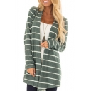 Striped Printed Collarless Long Sleeve Tunic Coat