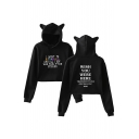 Colorful Letter Printed Cat's Ears Embellished Hood Long Sleeve Crop Hoodie
