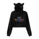GREETINGS Letter Cat's Ears Pattern Hood Long Sleeve Crop Hoodie