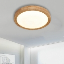 LED Modern Ceiling Lighting 11.8in/15.75in Wide Led Round Ceiling Light 16/20W Warm White Light Acrylic Lampshade Wooden Flush Mount Lighting Bedroom Balcony Hallway Office Led Lights