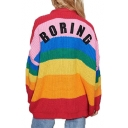 Rainbow Color Block BORING Letter Embroidered Back Collarless Long Sleeve Cardigan