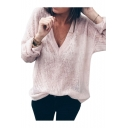 V Neck Long Sleeve Plain Sexy Knit Sweater