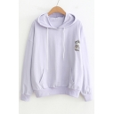 Chic Cat Embroidered Long Sleeve Casual Hoodie