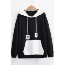 Lovely Cat Pattern Paw Embroidered Drawstring Contrast Hood Long Sleeve Hoodie