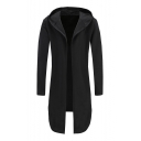 Open Front Long Sleeve Plain Tunic Hooded Coat