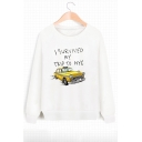 I SURVIVED MY TRIP Letter Car Printed Round Neck Long Sleeve Sweatshirt