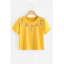 Floral Embroidered Round Neck Short Sleeve Crop T-Shirt
