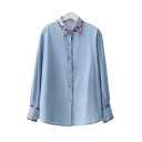 Floral Embroidered Trim Lapel Collar Long Sleeve Button Down Denim Shirt