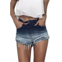 Ombre High Waist Zip Fly Distressed Detail Hem Hot Pants Denim Shorts
