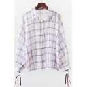 Plaid Printed Lapel Collar Long Sleeve Button Front Straps Embellished Cuffs Loose Shirt