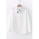 Cute Cartoon Embroidered Lapel Collar Button Front Long Sleeve Leisure Shirt