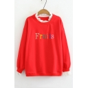 FRUITS Letter Lace Insert Trim Round Neck Long Sleeve Sweatshirt