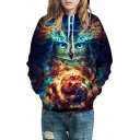 Owl Fire Printed Long Sleeve Oversized Hoodie