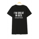 I'M GREAT Letter Printed Round Neck Short Sleeve T-Shirt