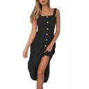 Button Front Straps Sleeveless Elastic Back Maxi Asymmetric Hem Dress