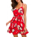 Self-Tie Waist Spaghetti Straps Floral Printed Mini Cami Dress