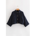 Lapel Collar Long Sleeve Button Closure Plain Crop Jacket