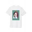 Kpop Twice Korean Star SANA Printed Round Neck Short Sleeve T-Shirt
