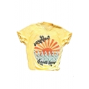 Letter Sun Printed Round Neck Short Sleeve Graphic T-Shirt