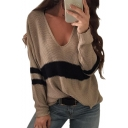 V Neck Color Block Long Sleeve Knit Leisure Sweater