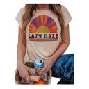 LAZY DAZE Letter Graphic Printed Round Neck Short Sleeve T-Shirt