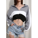 Drawstring Hem Color Block Half Zip Lapel Collar Long Sleeve Crop Sweatshirt