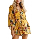 Floral Printed V Neck Long Sleeve Elastic Waist Mini A-Line Dress