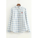 Plaid Printed Cherry Embroidered Button Front Long Sleeve Shirt