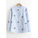 Stand Collar Floral Embroidered Striped Printed Long Sleeve Button Front Shirt