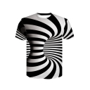 3D Color Block Striped Swirl Printed Short Sleeve Round Neck Leisure T-Shirt