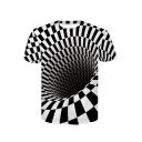 Digital Monochrome Swirl Printed Round Neck Short Sleeve T-Shirt