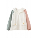 Color Block Long Sleeve Zip Up Hooded Jacket with Flap Pockets