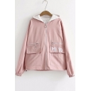 Letter Embroidered Double Pockets Front Long Sleeve Zip Up Hooded Jacket