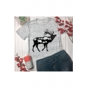 Deer Landscape Printed Round Neck Short Sleeve T-Shirt
