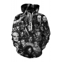 3D Terror Cartoon Character Printed Long Sleeve Casual Hoodie