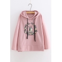 Wreath Bird Embroidered Long Sleeve Casual Hoodie
